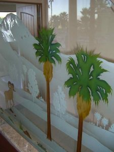 Partitions Pony Wall Carved and Painted Desert palm trees by Sans Soucie