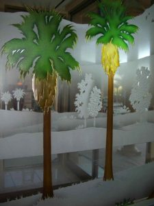 Partitions Pony Wall Painted and Carved Desert palm trees by Sans Soucie