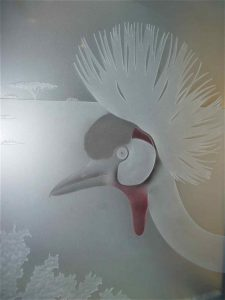 frosted glass African style birds foliage African crown cranes sans soucie
