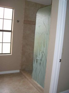 glass shower panels glass etching tropical style nature plants reeds ll sans soucie