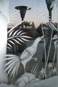 Exterior Door Inserts with Etched Glass Tropical by Sans Soucie