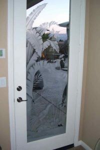 Sans Soucie Exterior Door Inserts with Glass Etching Tropical