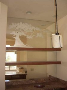 Custom Mirrors with Carved Glass Asian bonsai by Sans Soucie