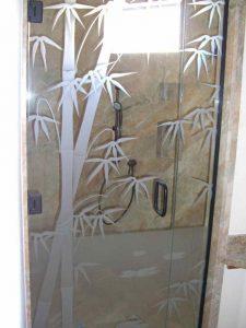 frameless glass shower doors frosted glass Asian decor wooden stalks bamboo sans soucie