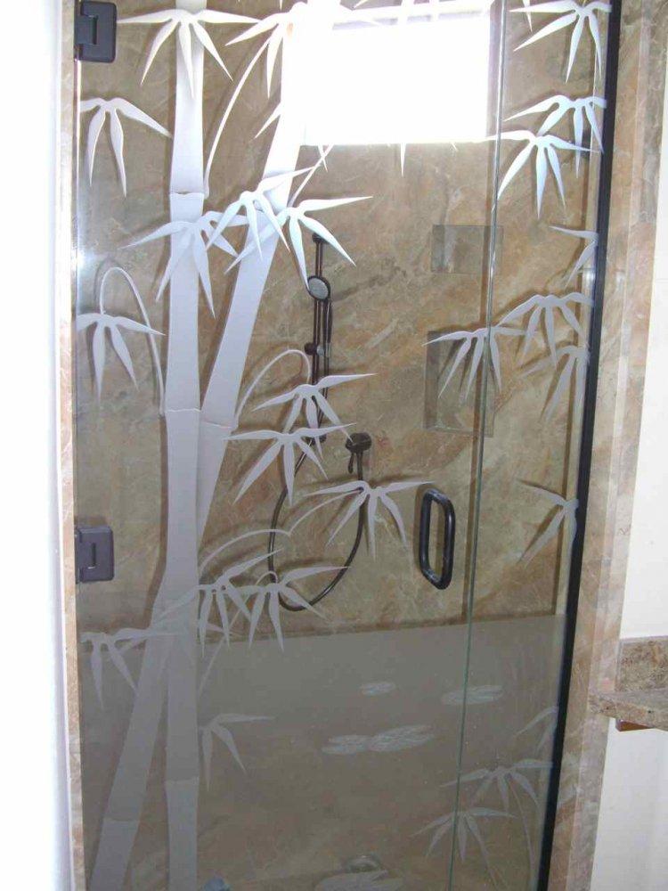 Frameless Glass Shower Doors Frosted Glass Asian Decor Wooden Stalks
