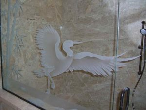 glass shower glass etching Asian style wooden stalks bamboo egret sans soucie