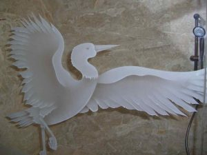 frosted glass Asian style leaves birds bamboo egret sans soucie