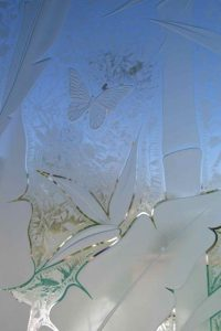 frosted glass tropical style leafy plant life banana leaves & bamboo sans soucie