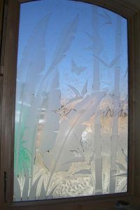 glass window etched glass tropical style outdoor foliage banana leaves & bamboo sans soucie