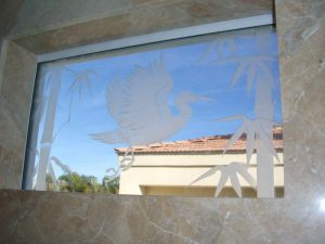 glass window etched glass Asian decor foliage outdoors egret in flight sans soucie