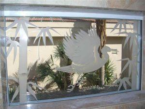 glass window custom glass Asian decor foliage bird egret in flight sans soucie