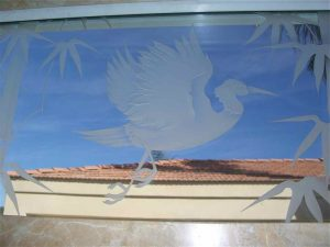 glass window etching glass Asian decor outdoors flying egret in flight sans soucie