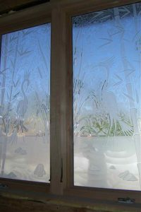 glass window glass etching Asian decor birds blossoms wading egrets ll sans soucie