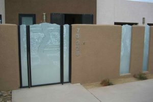Etched and Carved Glass Gate Rustic Eclectic Triptic Design by Sans Soucie