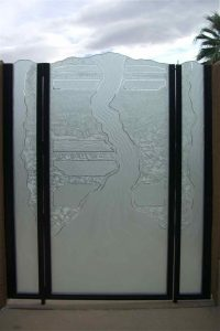 Etched and Carved Glass Gate Rustic Eclectic Triptic by Sans Soucie