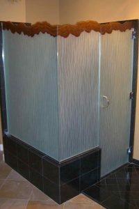 glass shower enclosures frosted glass beach decor wavy patterns shoreline grooves sans soucie