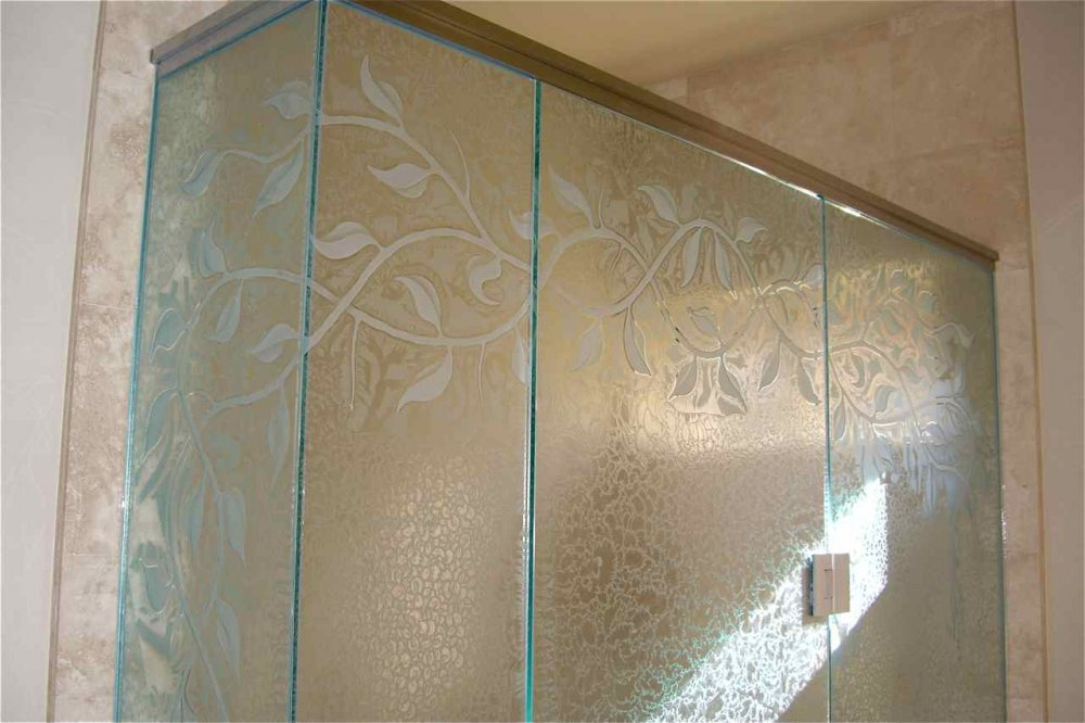 Decorative Floral Glass Shower Door Glass Shower Enclosures Etcehd Glass Tropical Decor Leaves Foliage