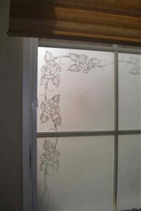 glass window frosted glass English country style thorns petals rose border sans soucie