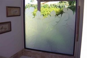 Glass Window frosted glass tropical decor nature plant life banana leaves ll sans soucie