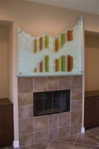 Fireplace Mantle Art Piece Gluechipped Carved and Painted Rustic by Sans Soucie