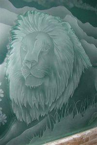 Caved Etched Glass Sculpture Psalm 145:16 Biblical lion by Sans Soucie