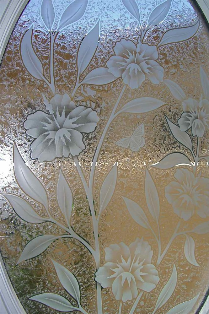 Hibiscus Bty Ii Glass Window Etched Glass Tropical Style