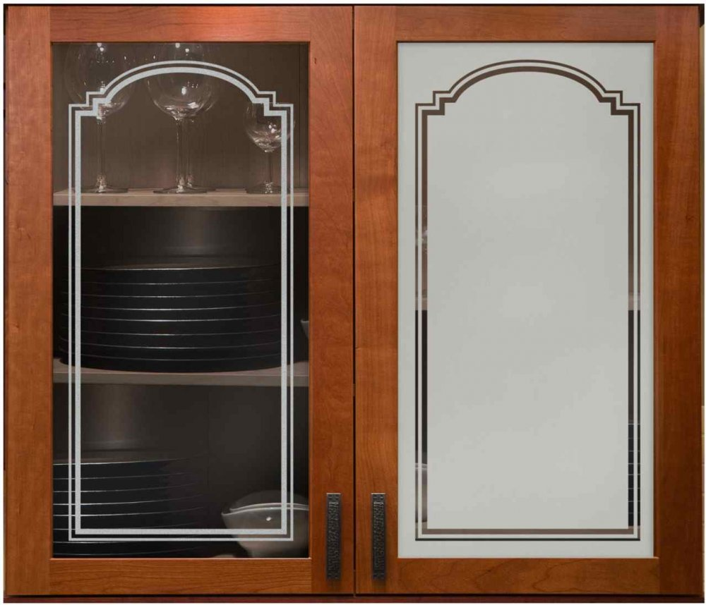 Arched Stepped 2 Cabinet Glass Sans Soucie Art Glass