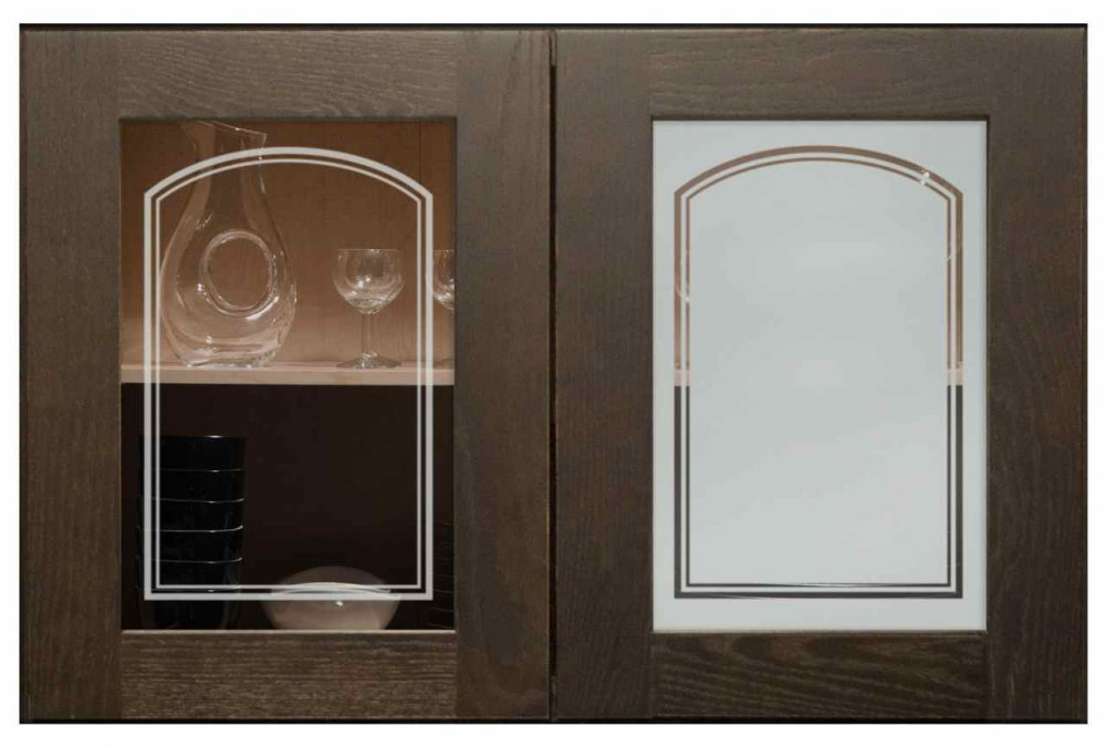Cabinet Door Insert Panels with Glass Etching Arch by Sans Soucie