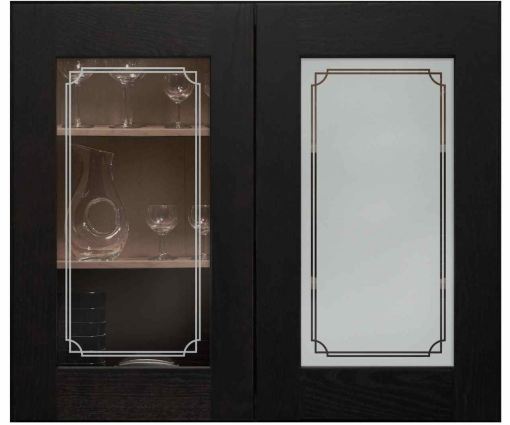 Cabinet Door Inserts with Etched Glass Borders by Sans Soucie