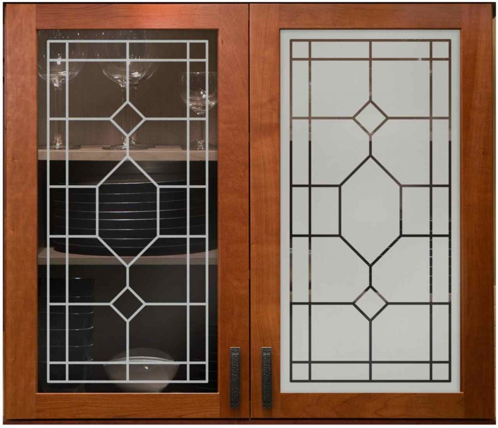 Cabinet Door Inserts with Glass Etching Patterns by Sans Soucie