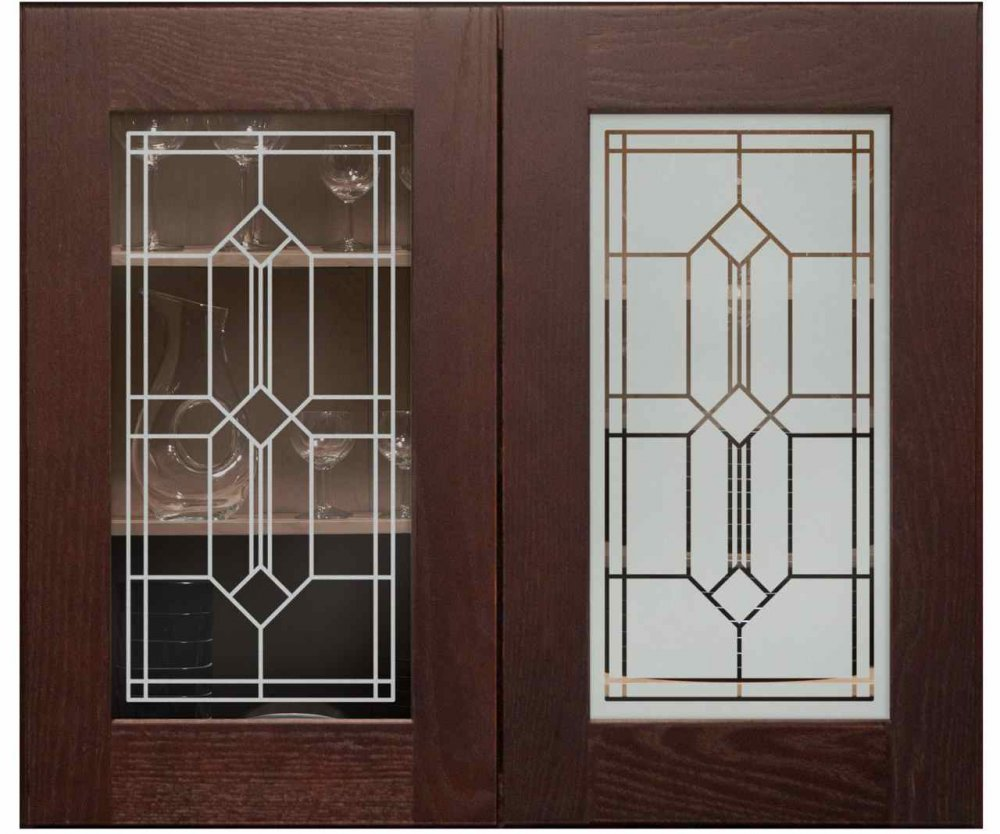 Cabinet Glass with Solid Etching by Sans Soucie