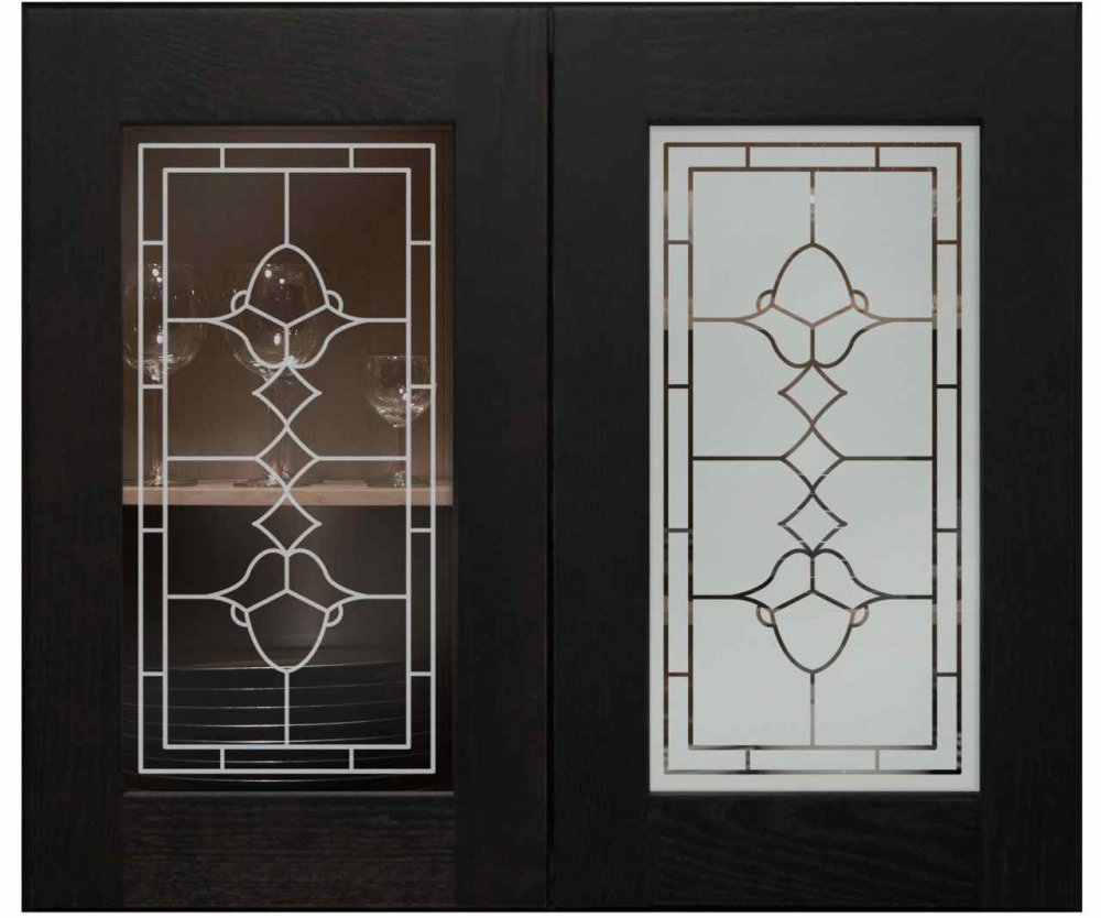 Cabinet Door Insert Panels with Etched Glass leaded by Sans Soucie