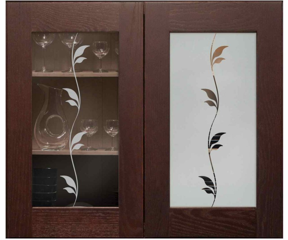 Cabinet Glass Doors with Etching Traditional by Sans Soucie