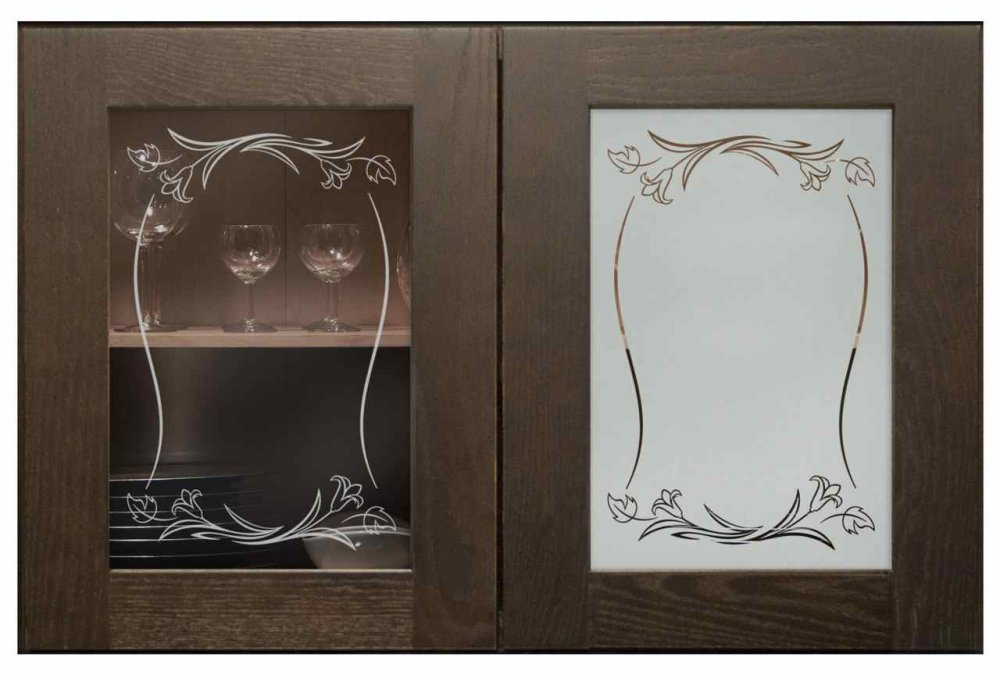 Cabinet Glass Solid Etched floral by Sans Soucie
