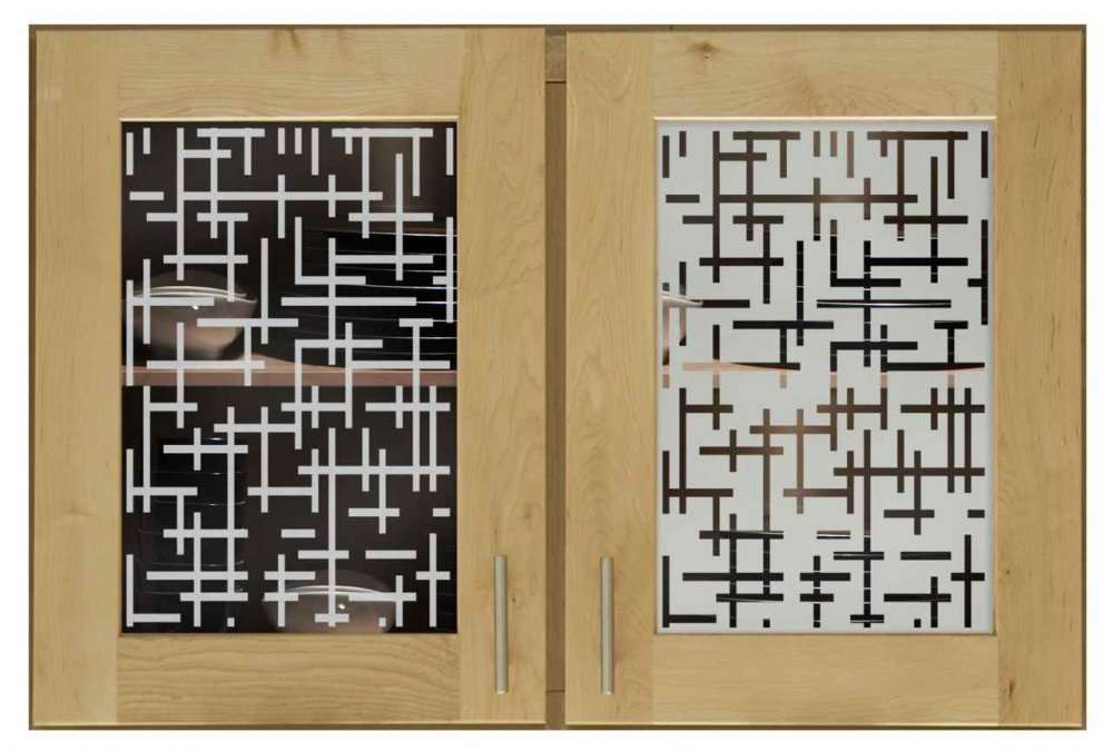 Cabinet Door Inserts with Glass Etching Pattern grid by Sans Soucie