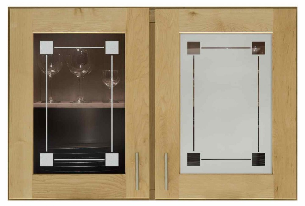 Cabinet Door Inserts with Etched Glass square corners by Sans Soucie