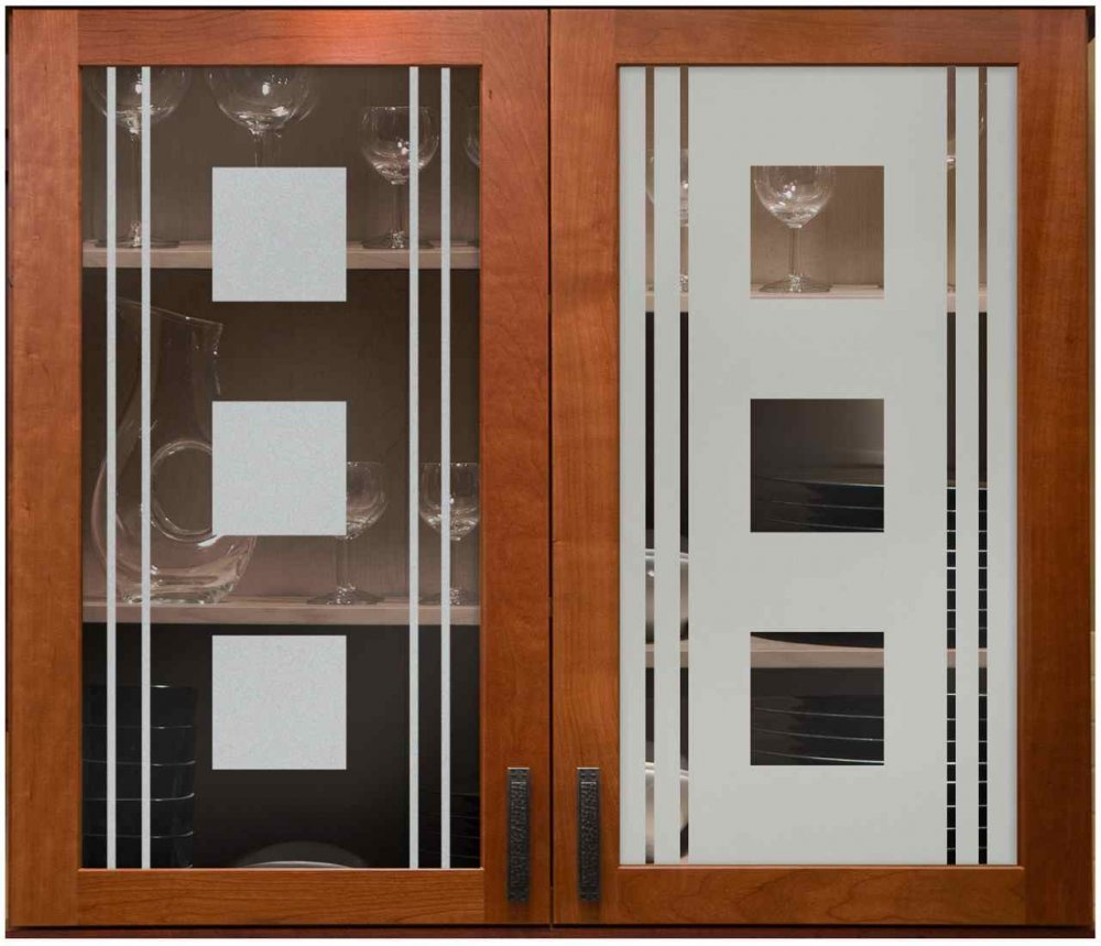 Cabinet Glass Solid Etched squares and lines by Sans Soucie