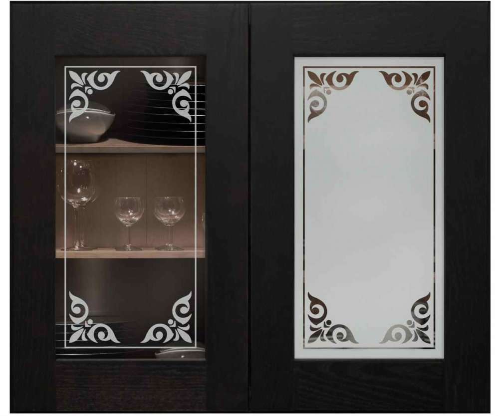 Cabinet Door Inserts with Etched Glass Promenade by Sans Soucie