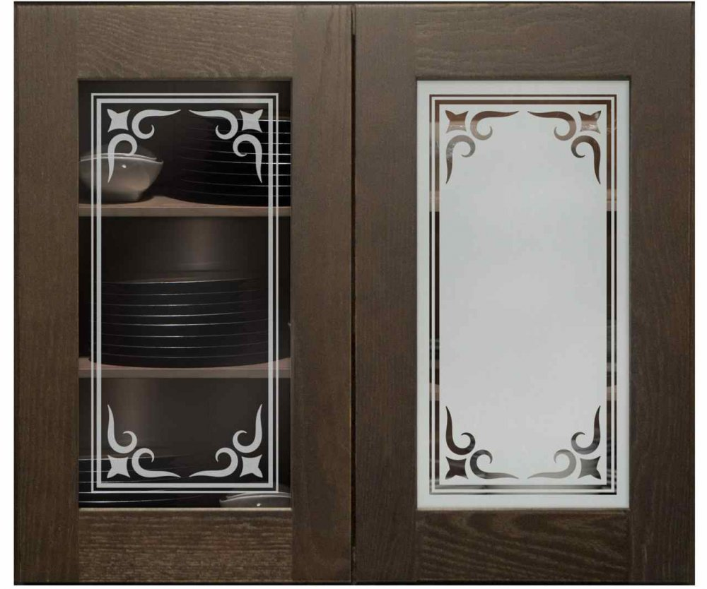 Cabinet Door Inserts with Glass Etching Border by Sans Soucie