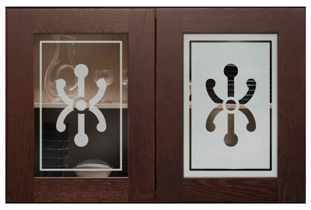 Cabinet Glass Doors with Glass Etching by Sans Soucie