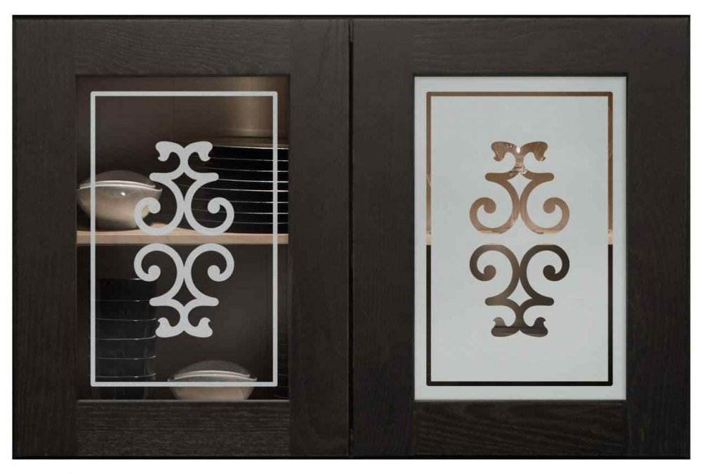 Cabinet Doors with Etched Tempered Glass by Sans Soucie