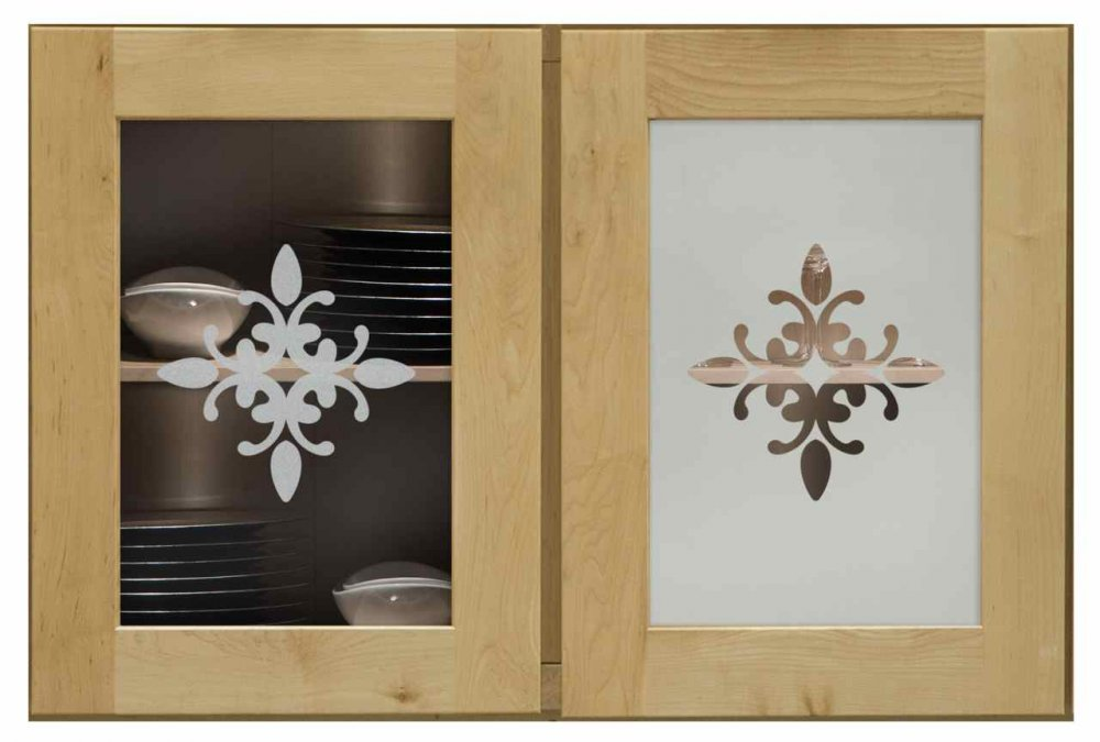 Cabinet Door Inserts with Glass Etching by Sans Soucie