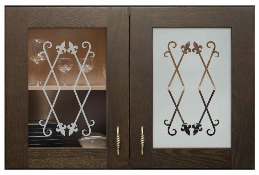 Cabinet Glass Doors with Etched Glass Wrought Iron by Sans Soucie