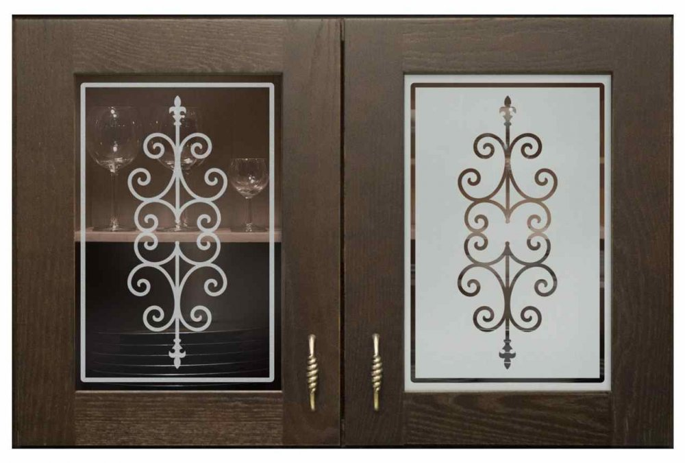 Cabinet Doors with Glass Etching Wrought Iron by Sand Soucie
