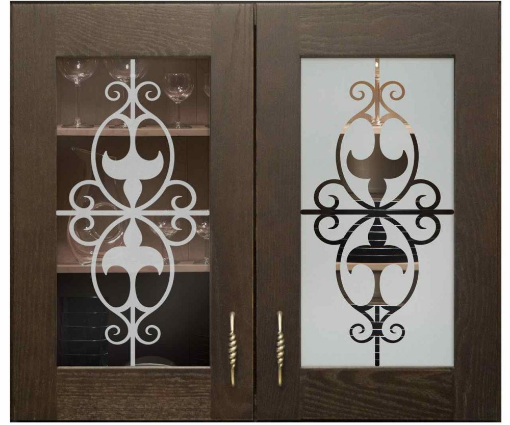 Cabinet Glass Doors with Glass Etching Wrought Iron by Sans Soucie