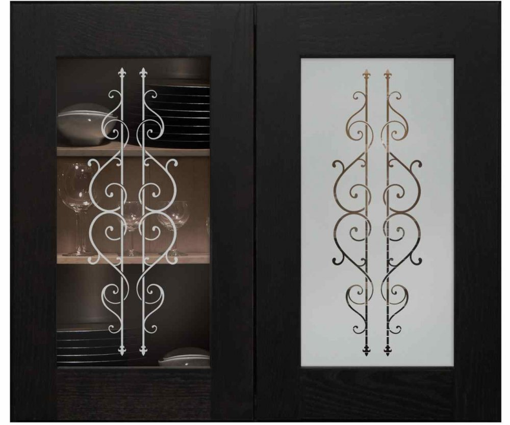 Cabinet Door Inserts with Glass Etching Wrought Iron by Sans Soucie