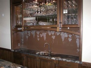 Sans Soucie Bar Counter Backsplash with Shaded Carved Glass Tuscan Mediterranean grapes
