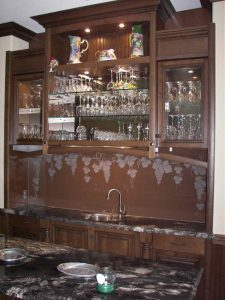Sans Soucie Bar Counter Backsplash with Carved and Shaded Glass Tuscan Mediterranean grapes