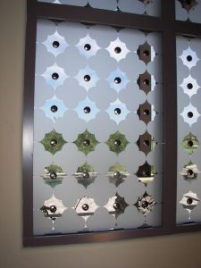 glass window frosted glass Tuscan style intricate shapes clover pattern with clavos sans soucie