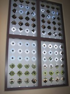 glass window custom glass Tuscan style ornate shapes clover pattern with clavos sans soucie